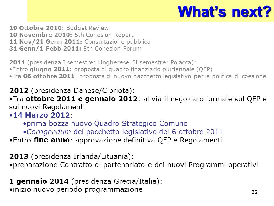 What's next 2012 (presidenza Danese/Cipriota):