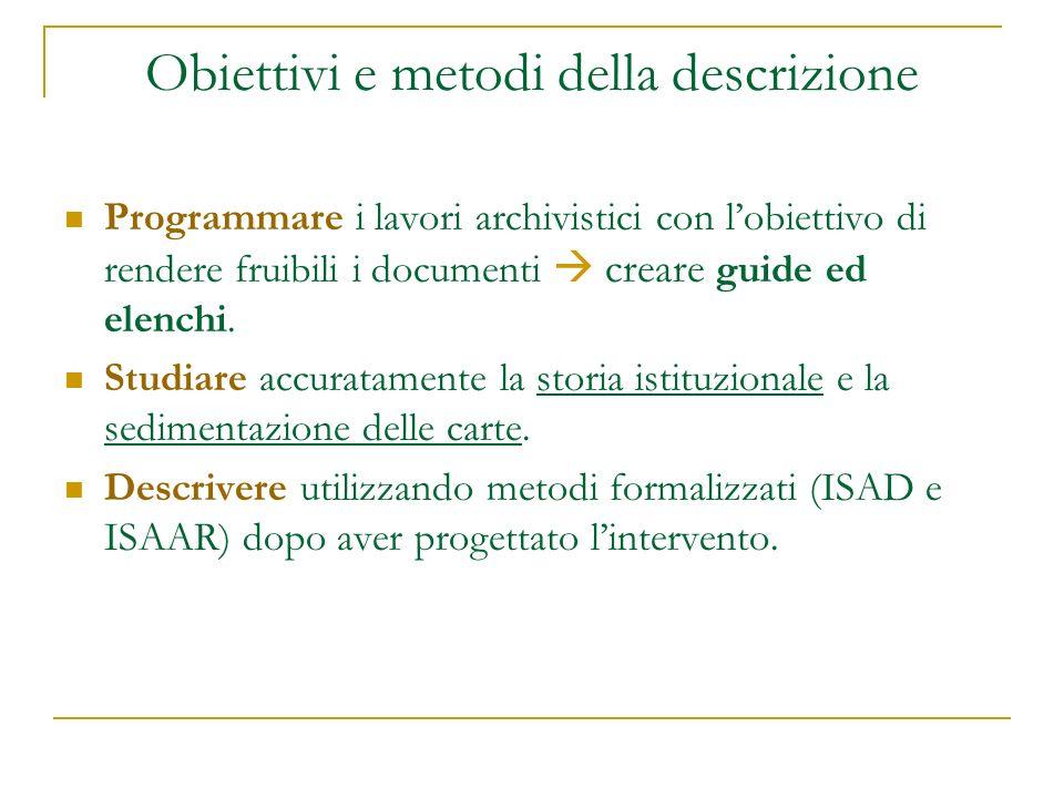 Obiettivi e metodi della descrizione