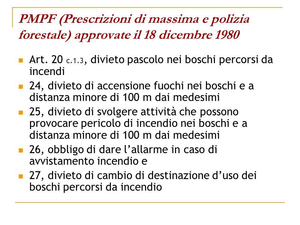 PMPF (Prescrizioni di massima e polizia forestale) approvate il 18 dicembre 1980