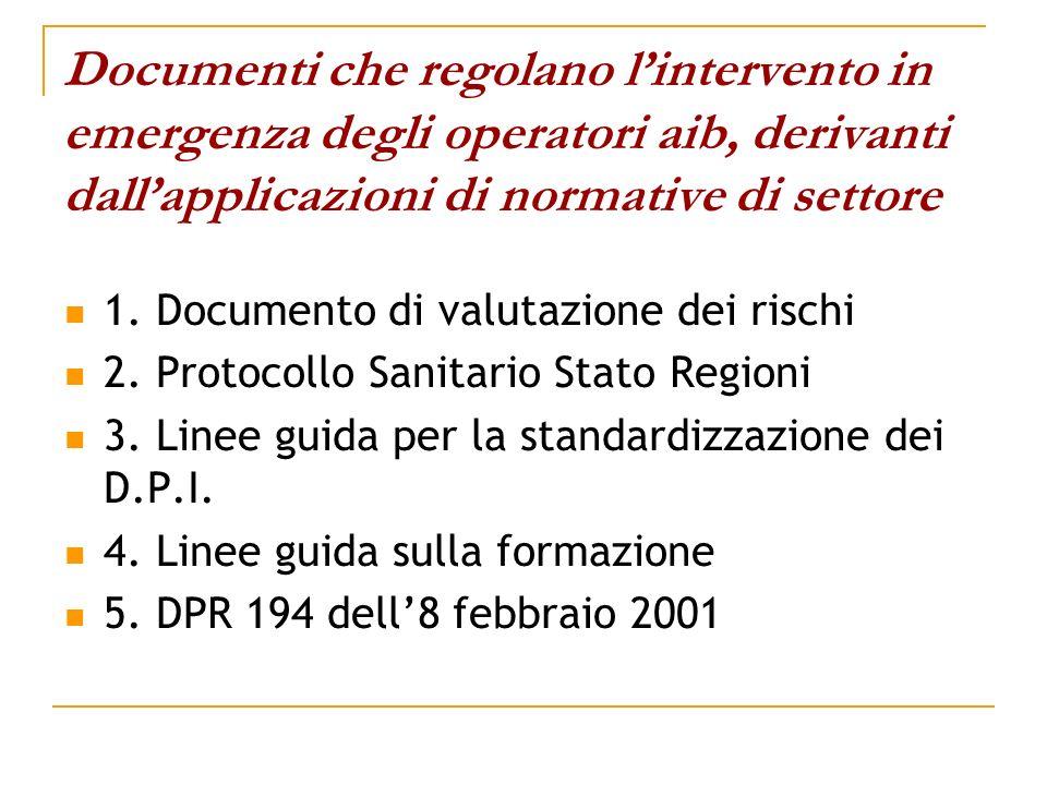 Documenti che regolano l'intervento in emergenza degli operatori aib, derivanti dall'applicazioni di normative di settore