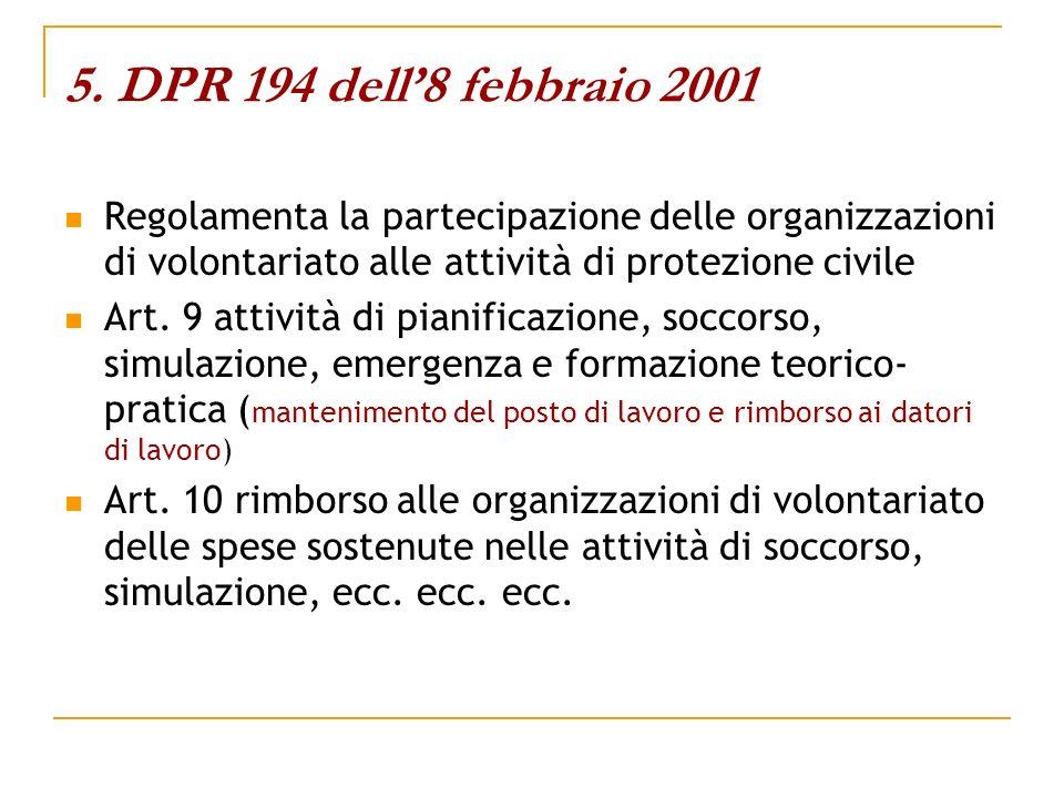 5. DPR 194 dell'8 febbraio 2001 Regolamenta la partecipazione delle organizzazioni di volontariato alle attività di protezione civile.