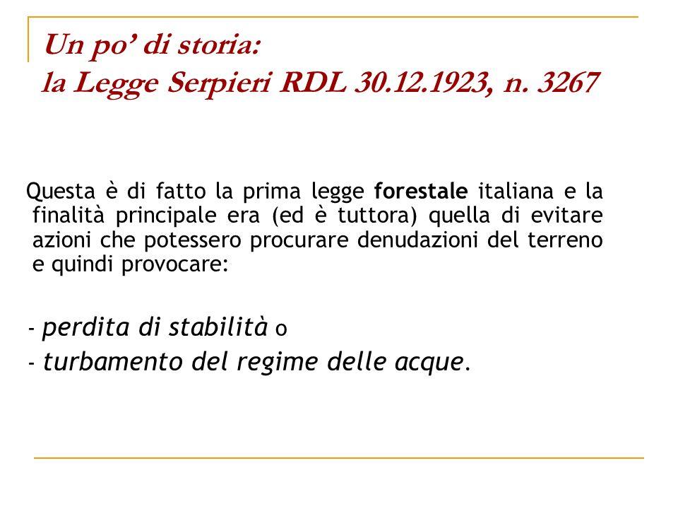 Un po' di storia: la Legge Serpieri RDL 30.12.1923, n. 3267