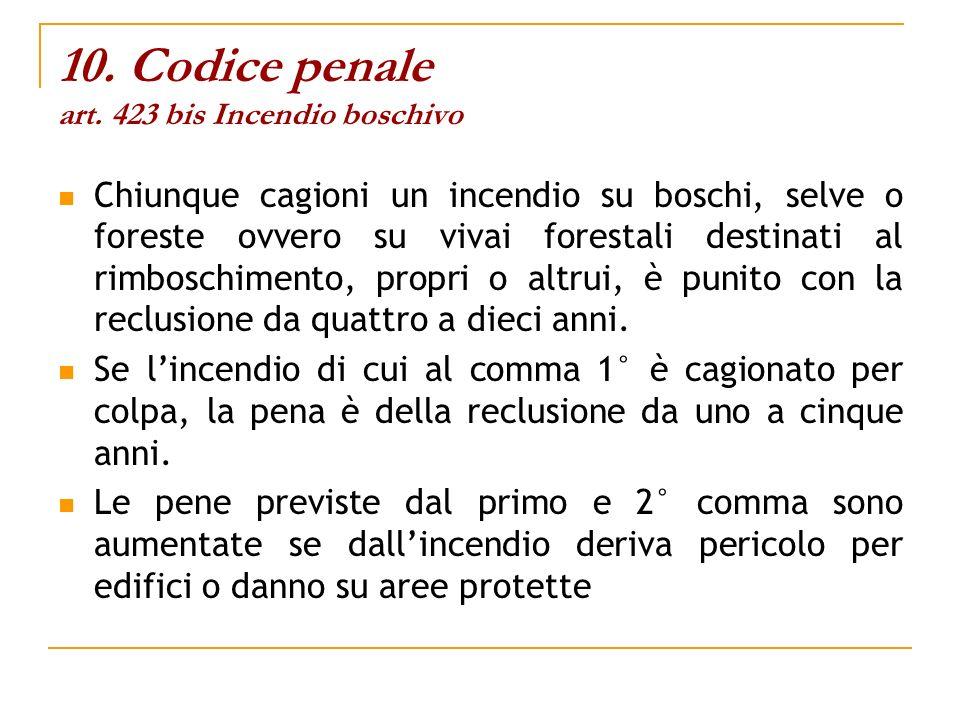 10. Codice penale art. 423 bis Incendio boschivo