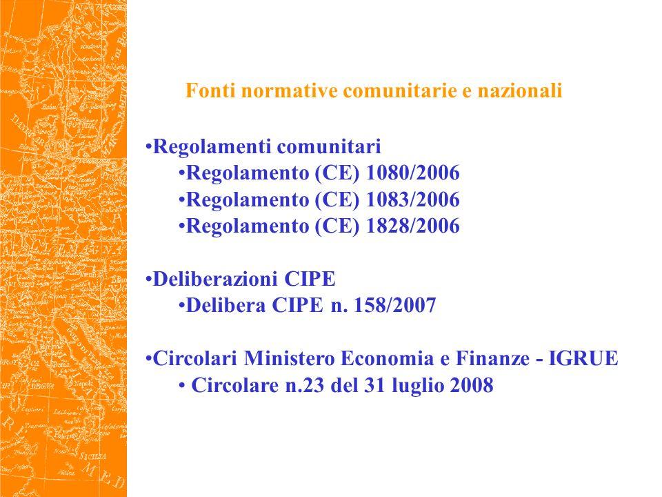 Fonti normative comunitarie e nazionali