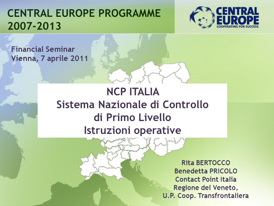 Sistema Nazionale di Controllo U.P. Coop. Transfrontaliera