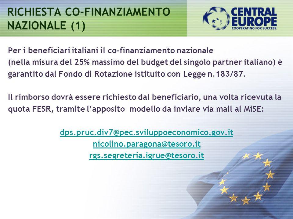RICHIESTA CO-FINANZIAMENTO NAZIONALE (1)