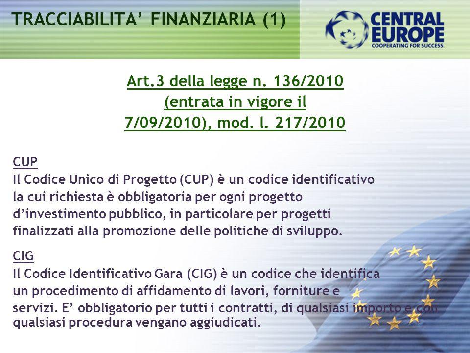 TRACCIABILITA' FINANZIARIA (1)