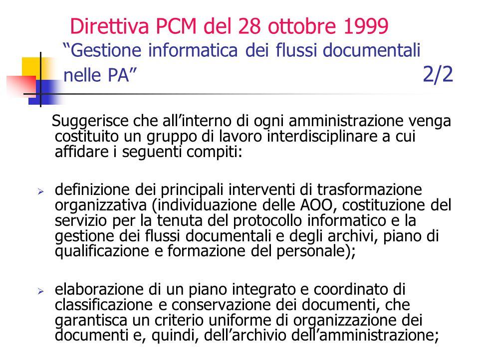 Direttiva PCM del 28 ottobre 1999 Gestione informatica dei flussi documentali nelle PA 2/2