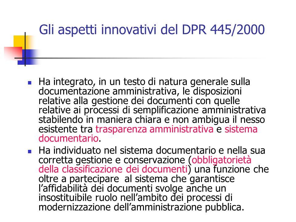 Gli aspetti innovativi del DPR 445/2000