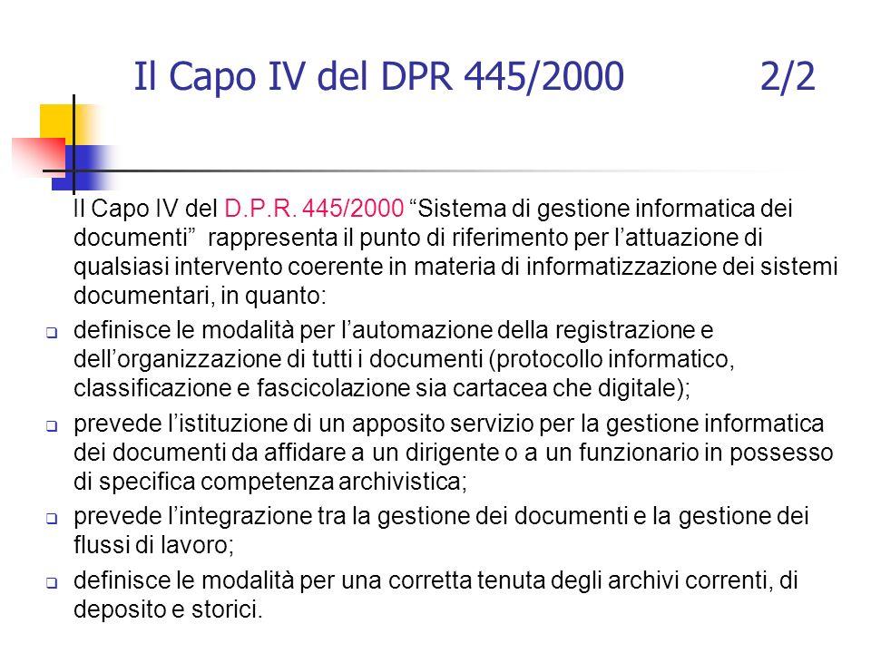 Il Capo IV del DPR 445/2000 2/2