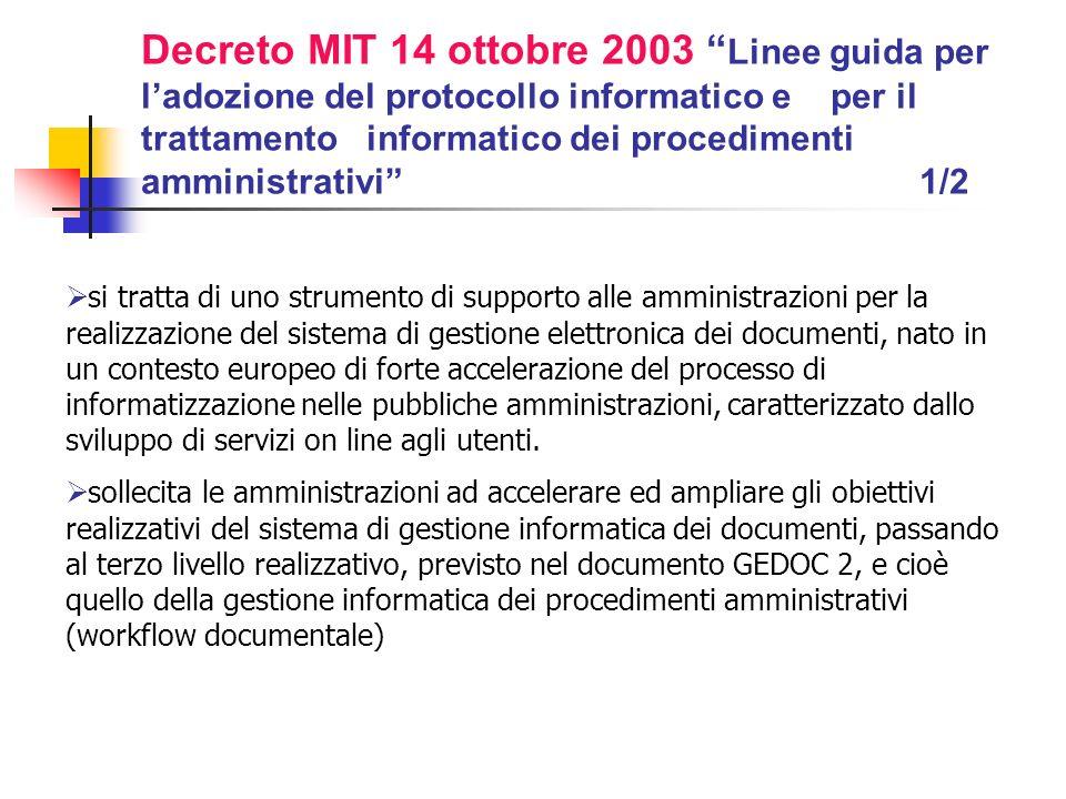 Decreto MIT 14 ottobre 2003 Linee guida per l'adozione del protocollo informatico e per il trattamento informatico dei procedimenti amministrativi 1/2