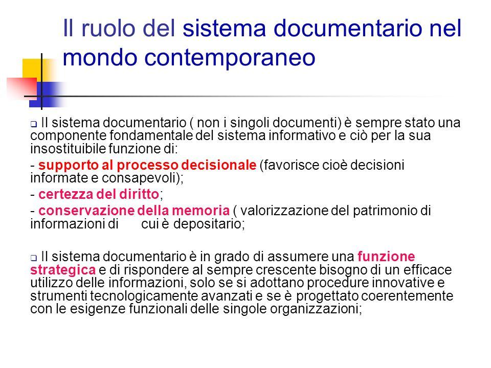 Il ruolo del sistema documentario nel mondo contemporaneo
