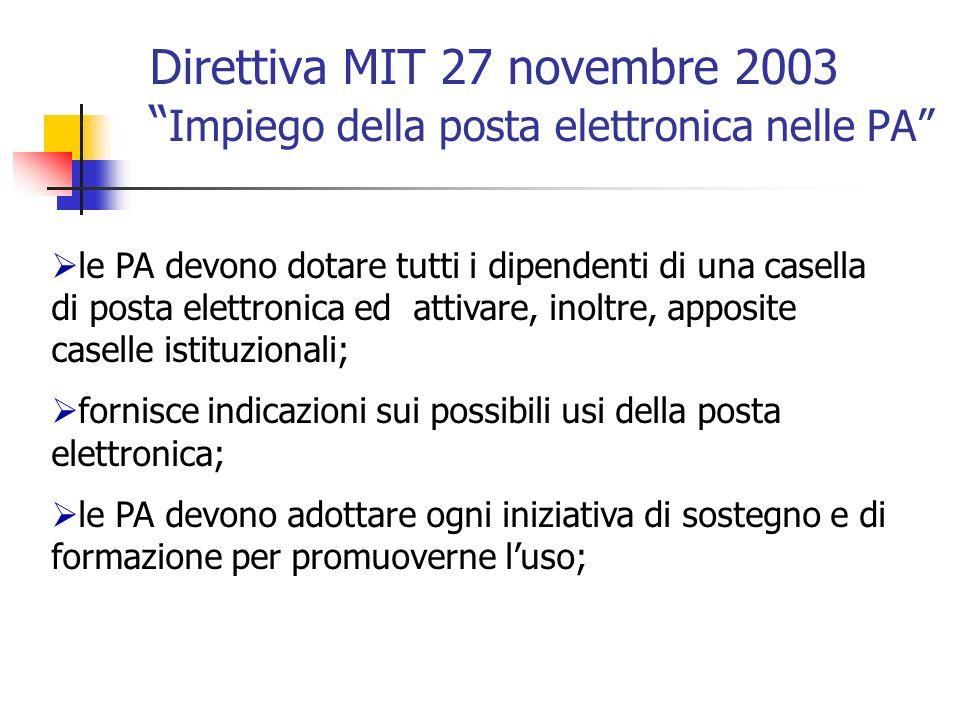 Direttiva MIT 27 novembre 2003 Impiego della posta elettronica nelle PA
