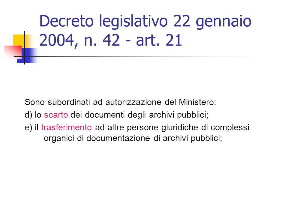 Decreto legislativo 22 gennaio 2004, n. 42 - art. 21