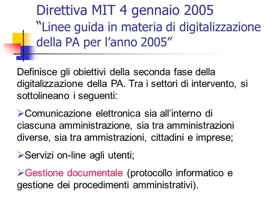 Direttiva MIT 4 gennaio 2005 Linee guida in materia di digitalizzazione della PA per l'anno 2005
