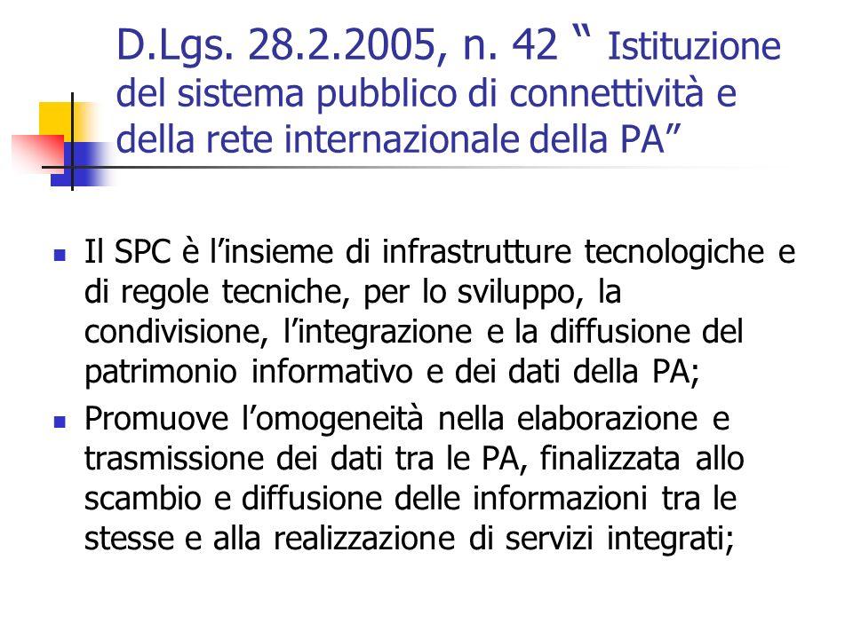 D.Lgs. 28.2.2005, n. 42 Istituzione del sistema pubblico di connettività e della rete internazionale della PA