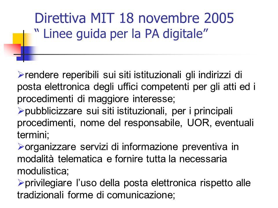 Direttiva MIT 18 novembre 2005 Linee guida per la PA digitale