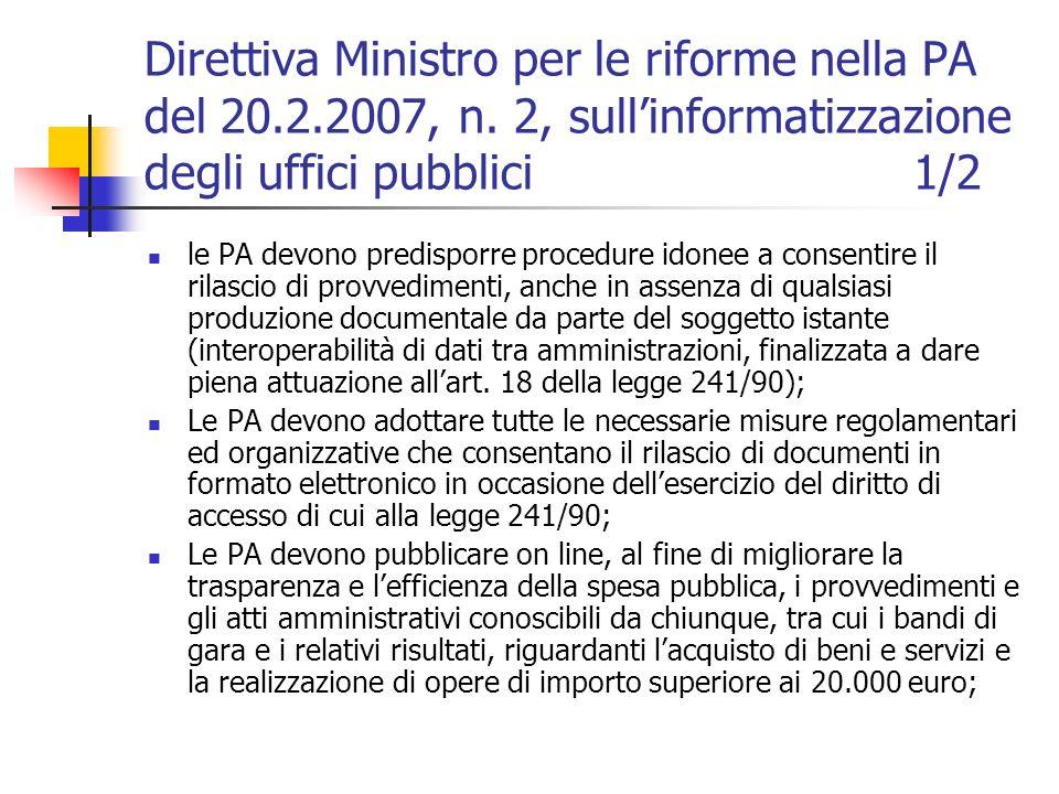 Direttiva Ministro per le riforme nella PA del 20. 2. 2007, n