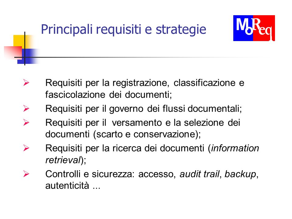 Principali requisiti e strategie