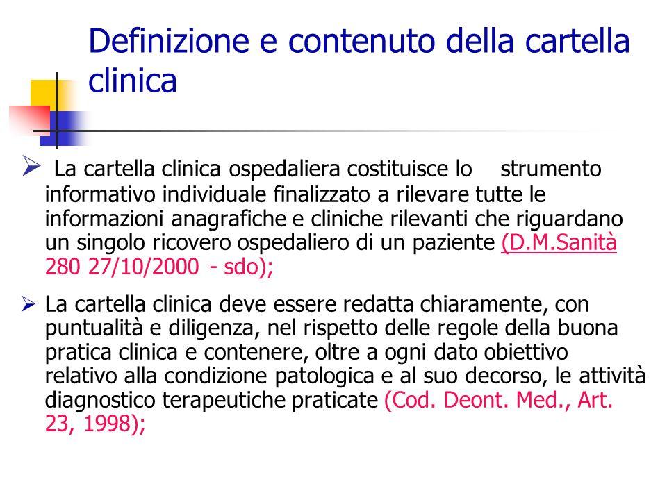 Definizione e contenuto della cartella clinica
