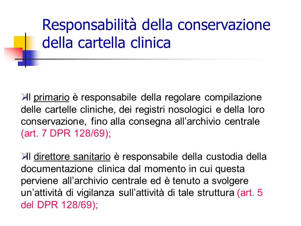 Responsabilità della conservazione della cartella clinica