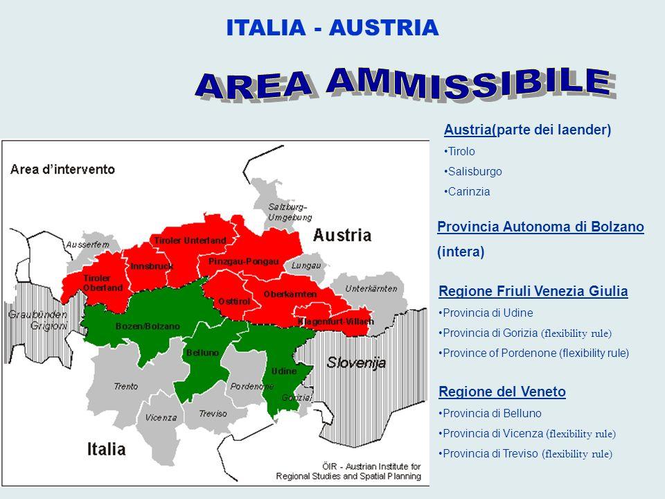 ITALIA - AUSTRIA AREA AMMISSIBILE Austria(parte dei laender)