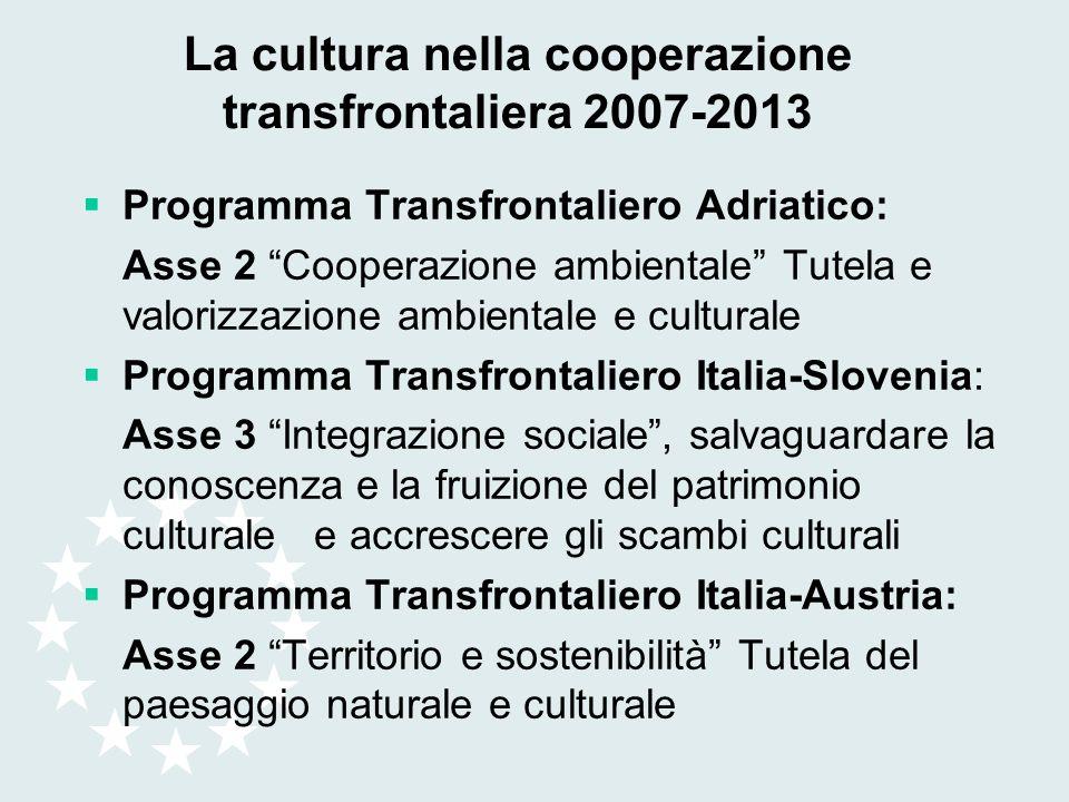 La cultura nella cooperazione transfrontaliera 2007-2013