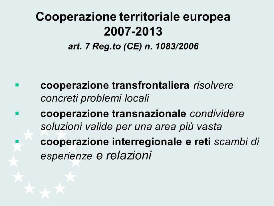 Cooperazione territoriale europea 2007-2013 art. 7 Reg. to (CE) n