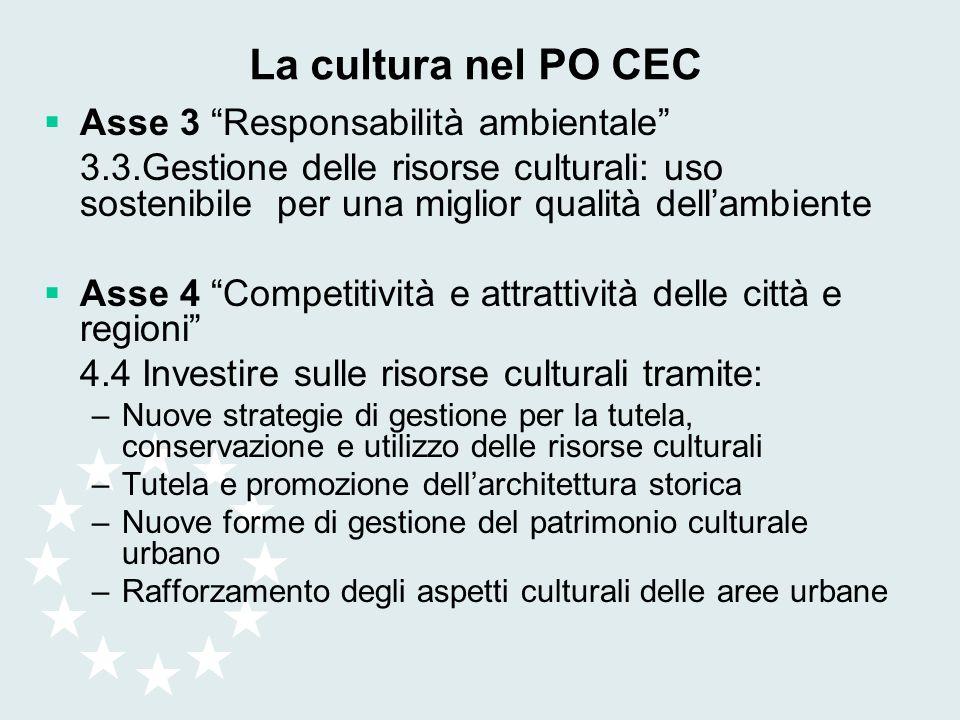 La cultura nel PO CEC Asse 3 Responsabilità ambientale