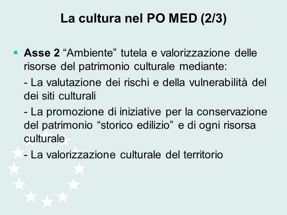 La cultura nel PO MED (2/3)