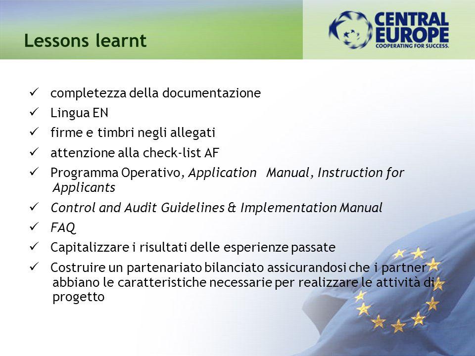 Lessons learnt completezza della documentazione Lingua EN
