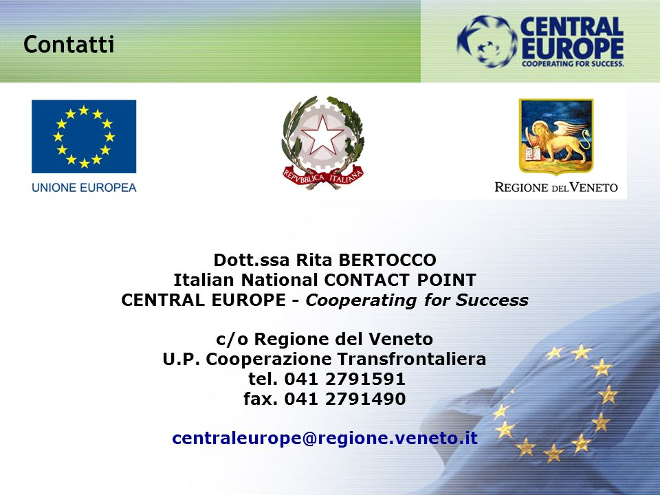 Contatti Dott.ssa Rita BERTOCCO Italian National CONTACT POINT