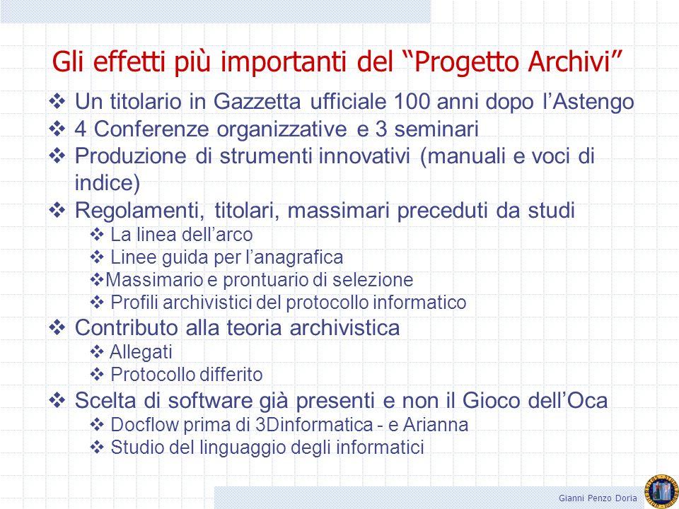 Gli effetti più importanti del Progetto Archivi