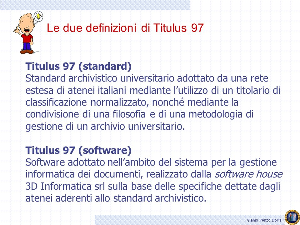 Le due definizioni di Titulus 97