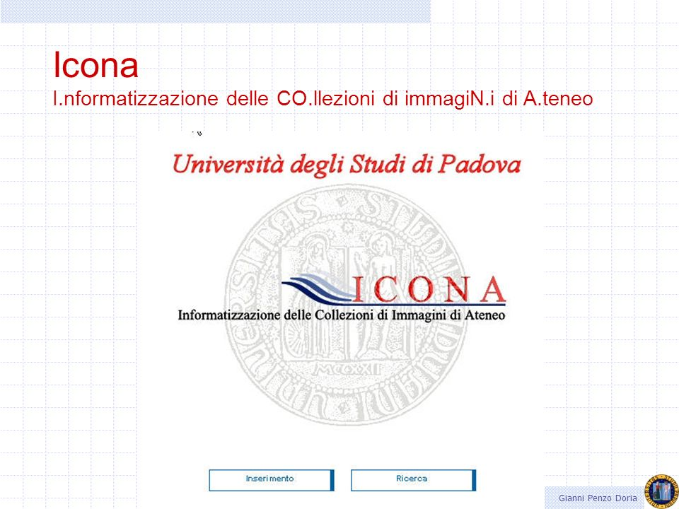 Icona I.nformatizzazione delle CO.llezioni di immagiN.i di A.teneo