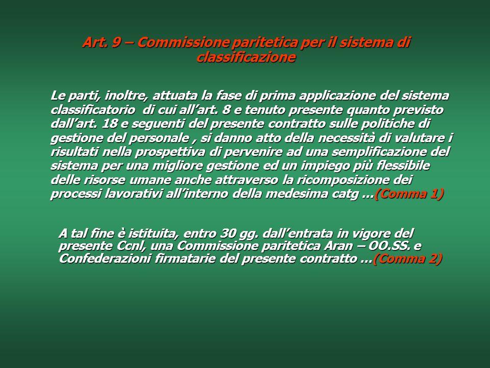Art. 9 – Commissione paritetica per il sistema di classificazione
