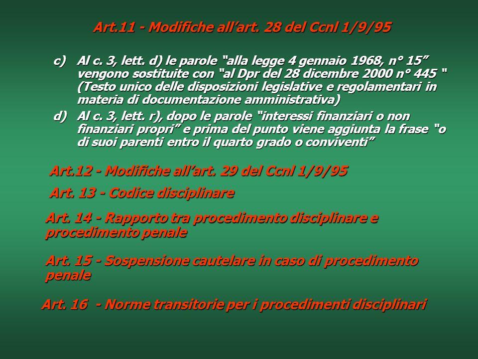 Art.11 - Modifiche all'art. 28 del Ccnl 1/9/95