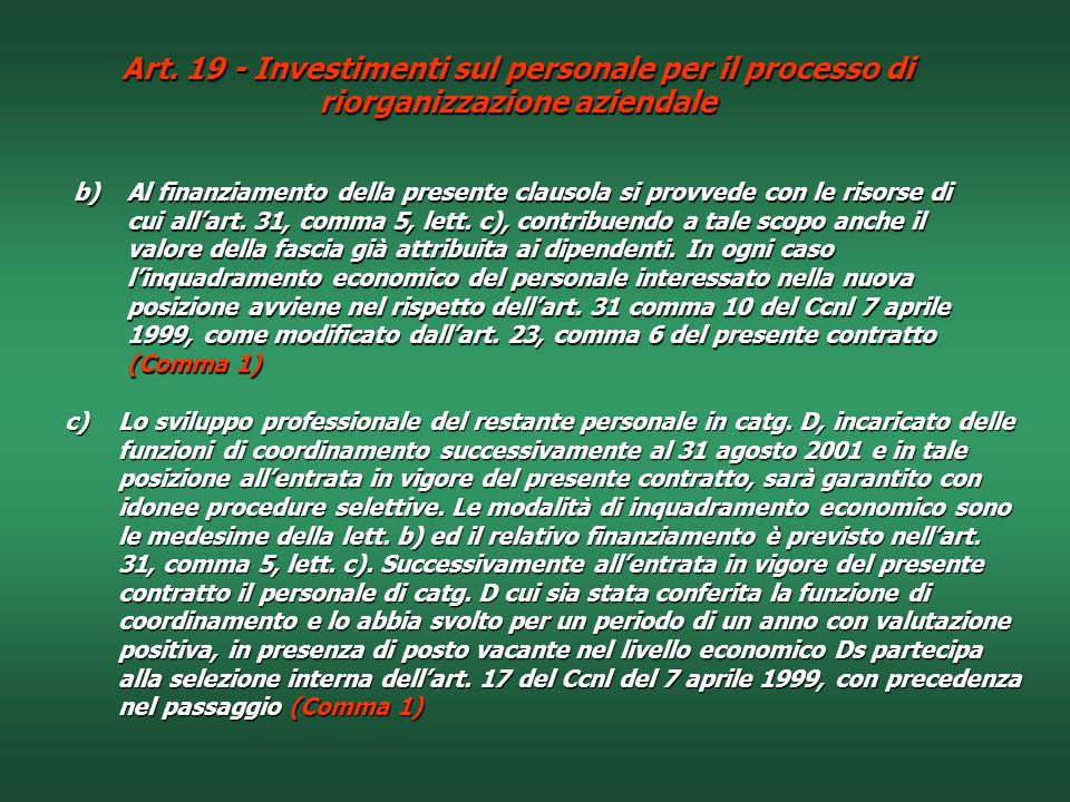 Art. 19 - Investimenti sul personale per il processo di riorganizzazione aziendale