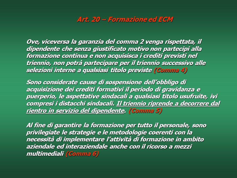 Art. 20 – Formazione ed ECM