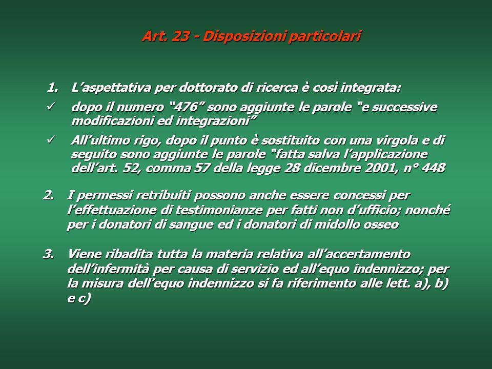 Art. 23 - Disposizioni particolari