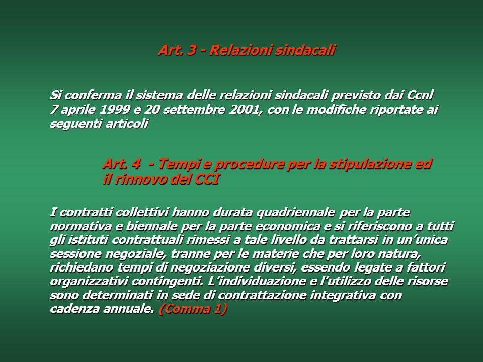 Art. 3 - Relazioni sindacali