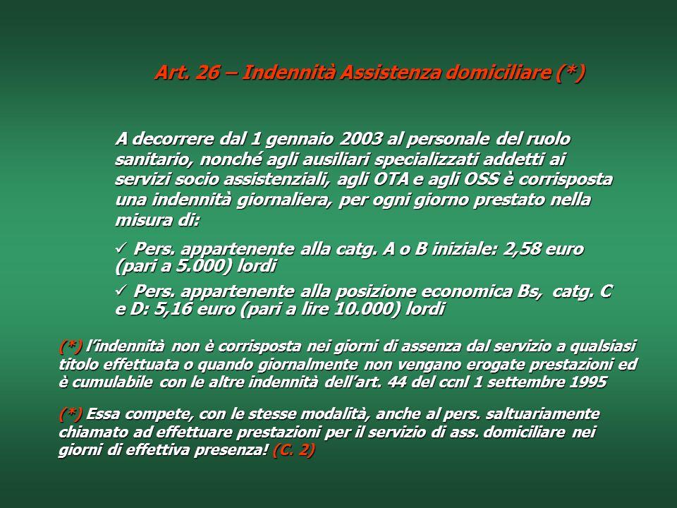 Art. 26 – Indennità Assistenza domiciliare (*)