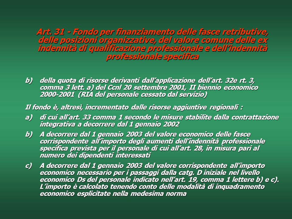 Art. 31 - Fondo per finanziamento delle fasce retributive, delle posizioni organizzative, del valore comune delle ex indennità di qualificazione professionale e dell'indennità professionale specifica