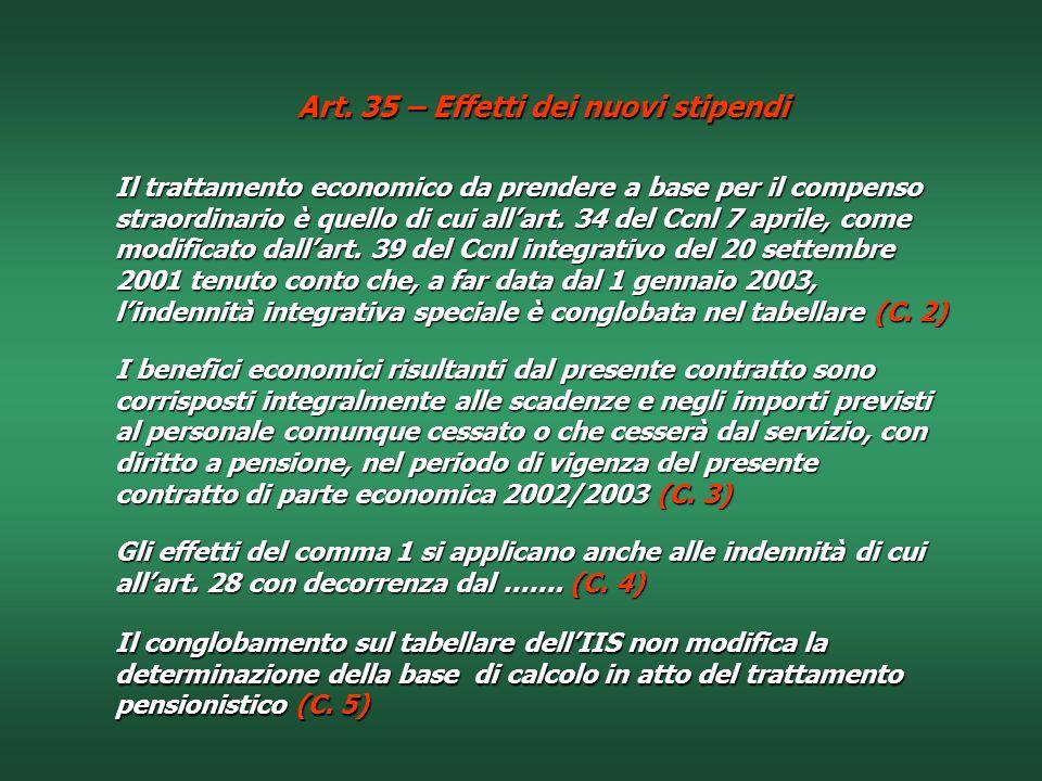 Art. 35 – Effetti dei nuovi stipendi