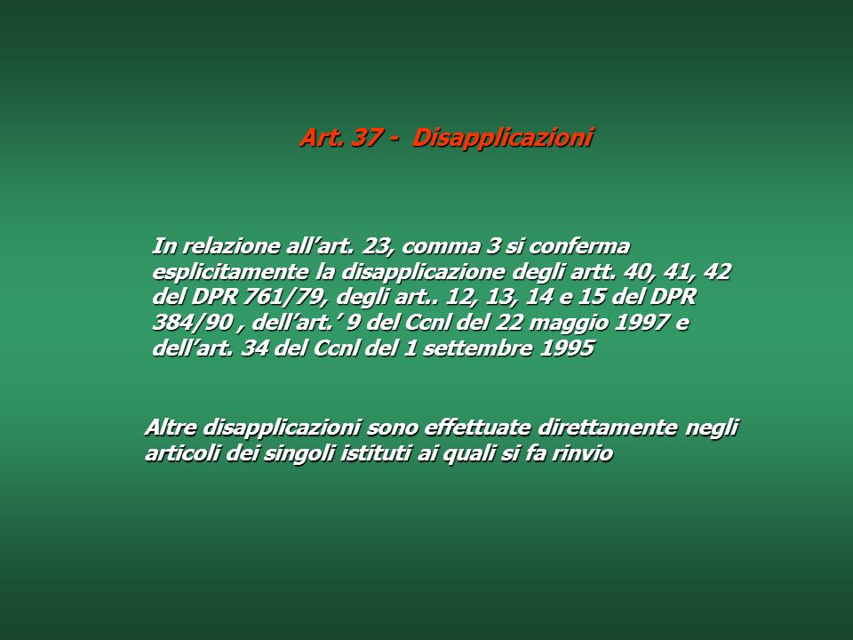 Art. 37 - Disapplicazioni