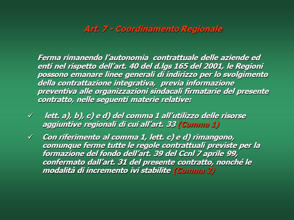 Art. 7 - Coordinamento Regionale
