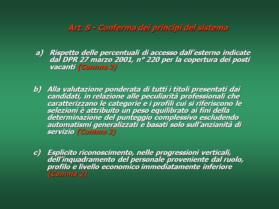Art. 8 - Conferma dei principi del sistema
