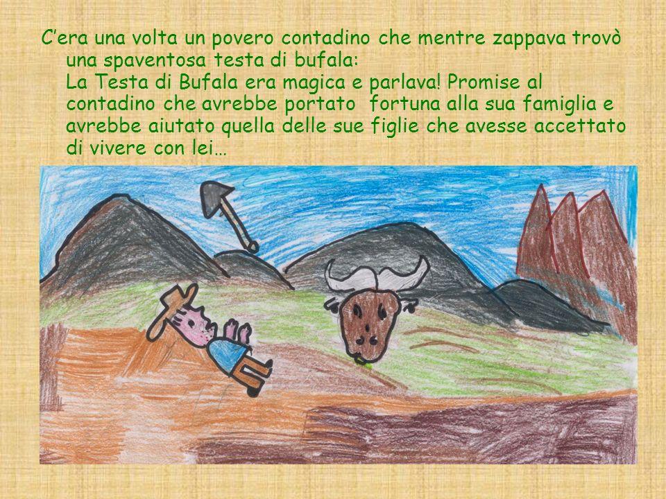 C'era una volta un povero contadino che mentre zappava trovò una spaventosa testa di bufala: La Testa di Bufala era magica e parlava.