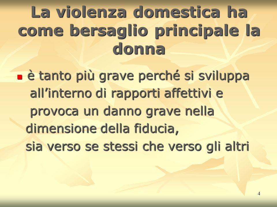 La violenza domestica ha come bersaglio principale la donna