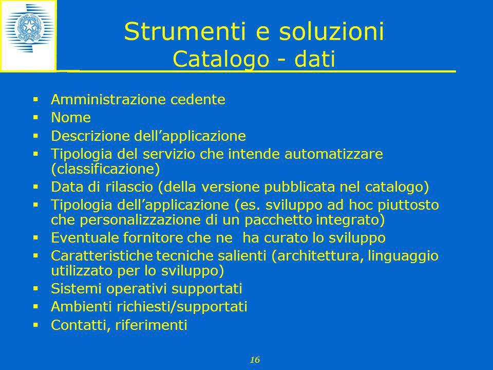 Strumenti e soluzioni Catalogo - dati
